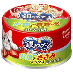 4520699632758銀湯匙貓罐頭-鮪魚+柴魚片+雞肉/70g