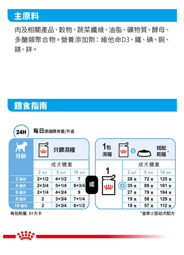 9003579008201皇家(犬)小型幼犬濕糧 MNPW 85G