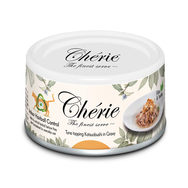 【Cherie 法麗】室內貓化毛配方微湯汁 鰹魚貓罐80g