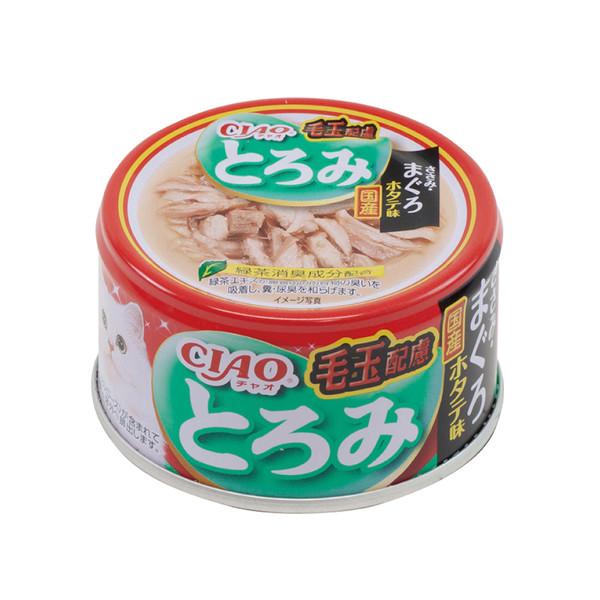 4901133062582CIAO多樂米濃湯罐-化毛配方(雞肉+鮪魚+扇貝)80g