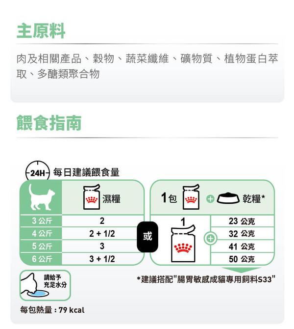 9003579309537皇家(貓)腸胃敏感貓專用濕糧S33W 85G