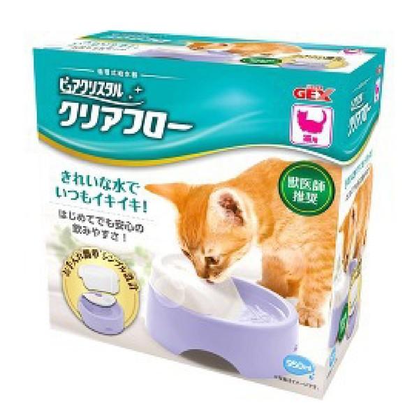 【GEX】靜音型愛貓圓滿平安飲水器粉紫950ml