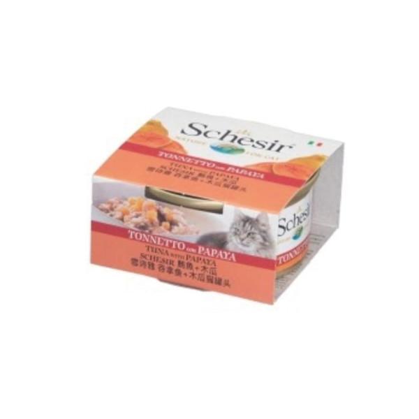 8005852613509 Schesir貓罐頭-鮪魚+木瓜75g/罐