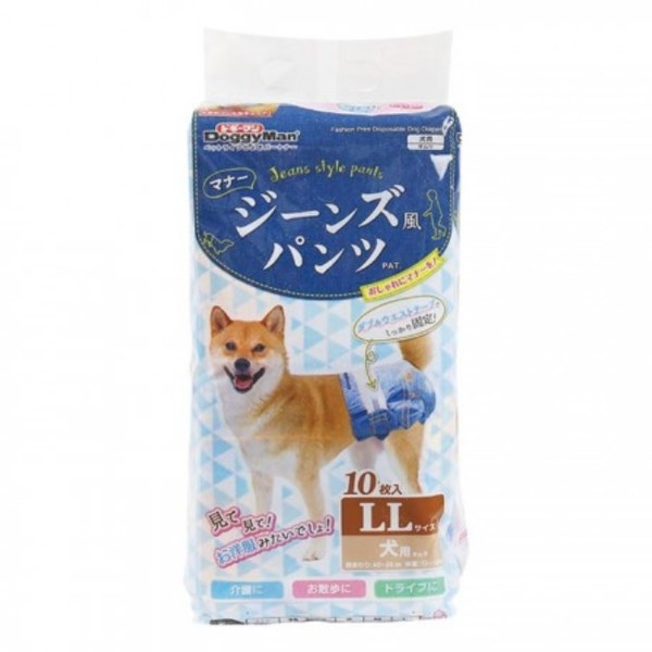 4976555850659Doggyman犬貓用牛仔藍防側漏紙尿褲(16入)-M