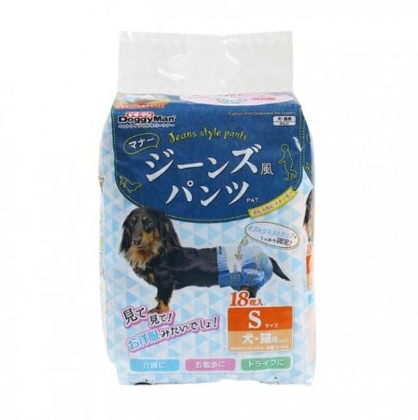 【DoggyMan】犬貓用牛仔藍防側漏紙尿褲-S(18入)/M(16入)