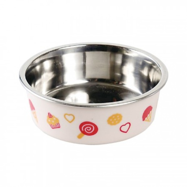 【DoggyMan】犬用冰淇淋彩繪橡膠止滑碗-粉紅色 Mini