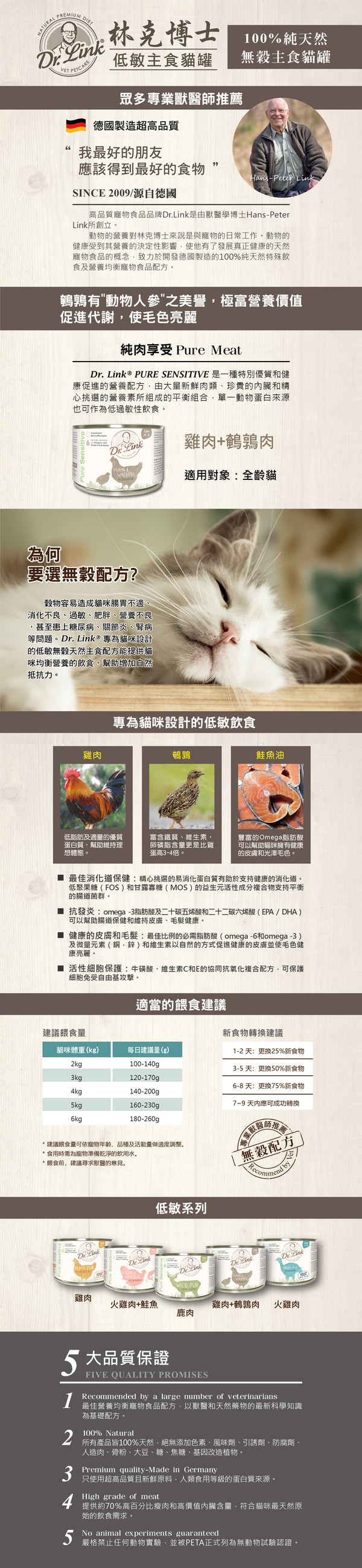 4250499204137 林克博士低敏(貓)主食罐200g-雞肉+鵪鶉肉