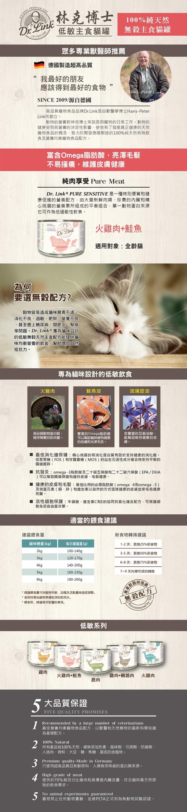 林克博士低敏(貓)主食罐200g-火雞+鮭魚 4250499203130