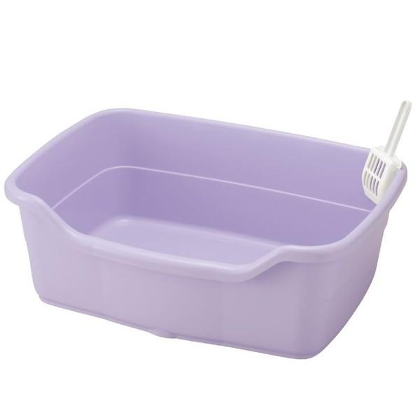 4973655560617Richell卡羅方型貓便盆(大)-紫