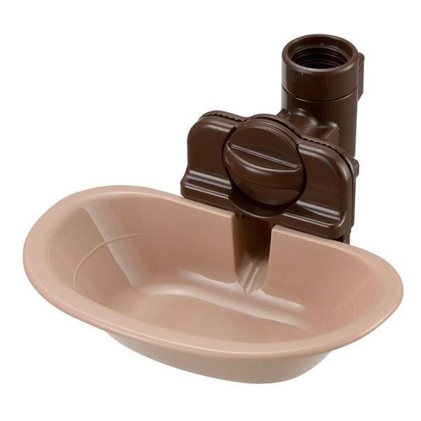 【Richell 利其爾】固定式飲水盤 M 棕色/粉色