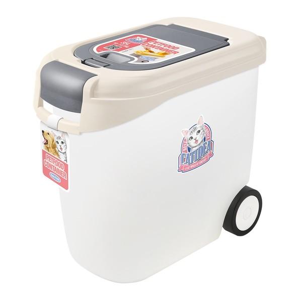 【CATIDEA 貓樂適】CF102-10公斤雙開輪子飼料桶(乳白)
