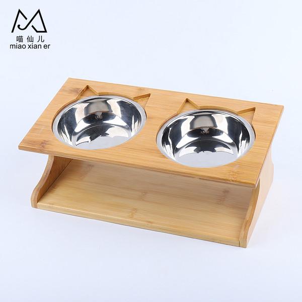2302100306548竹木簡約餐桌造型不鏽鋼碗(雙碗)17.5*35cm