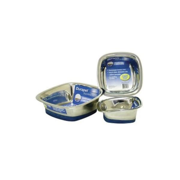 【Durapet 防滑不銹鋼寵物食器】方型不銹鋼碗(小)