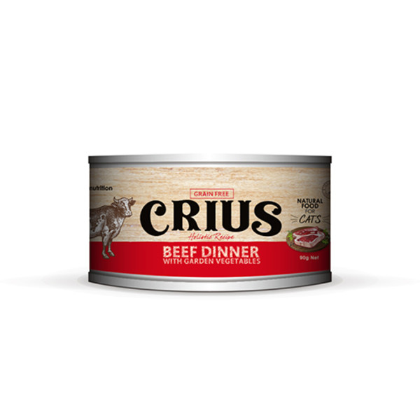 【CRIUS 克瑞斯】紐西蘭天然無穀貓用主食罐-風味牛(90G/175G)