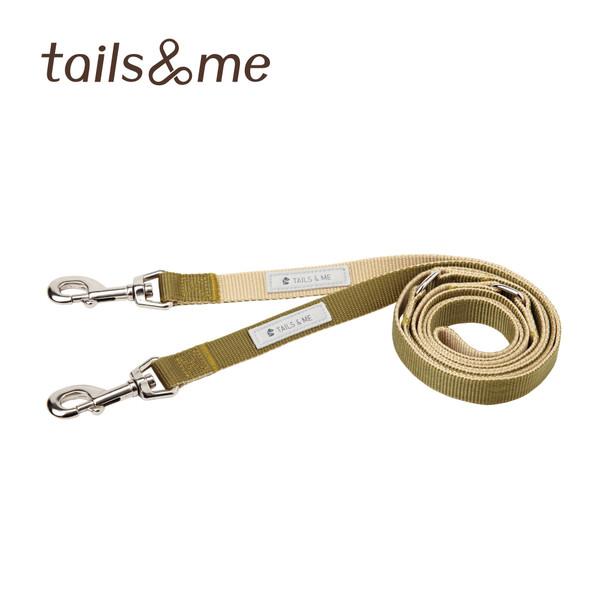 【tails & me 尾巴與我】尼龍帶多功能標準款雙色牽繩-卡其抹綠 (S/M)