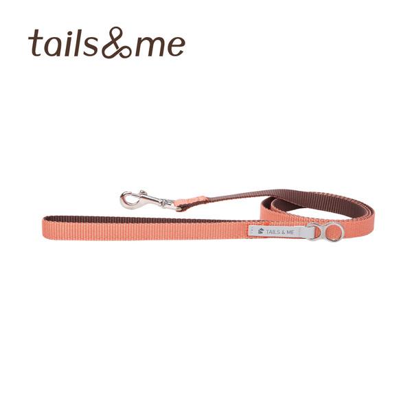 【tails & me 尾巴與我】經典尼龍帶基本款雙色牽繩-粉橘深棕 (S/M/L)
