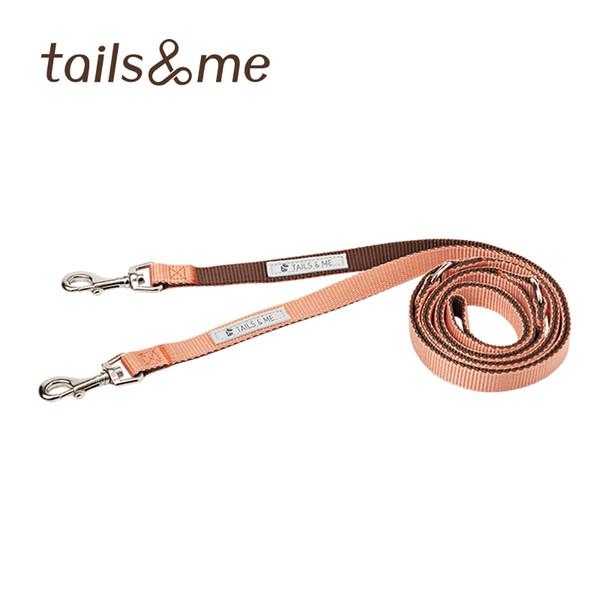 【tails & me 尾巴與我】尼龍帶多功能標準款牽繩-粉橘深棕 (S/M)