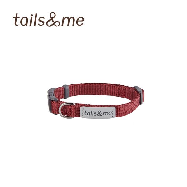 【tails & me 尾巴與我】經典尼龍帶貓用安全項圈 (酒紅/薄荷檸黃)
