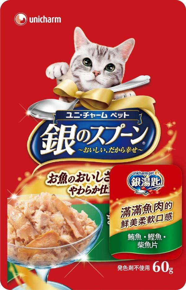 4520699641699 unicharm pet銀湯匙餐包 (鮪魚+鰹魚+柴魚片)