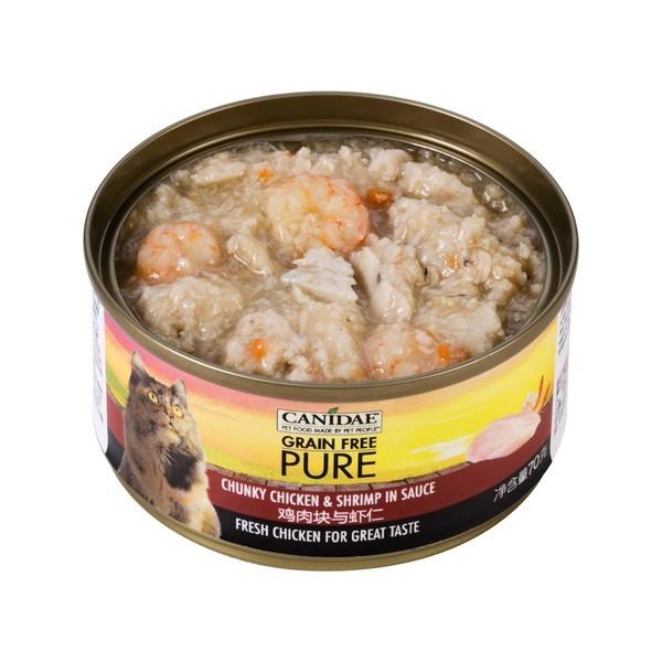 【Canidae 卡比】無穀貓用主食罐-清燉厚切雞肉.蝦仁70g