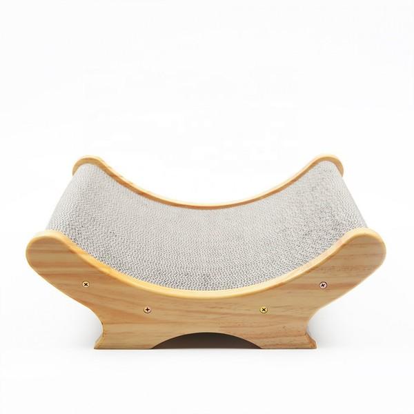 【喵仙兒】U型木製床造型貓抓板/瓦楞替芯