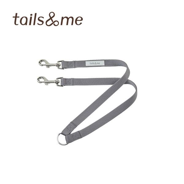 【tails & me 尾巴與我】經典尼龍帶一對二牽繩-深灰 (S/M)