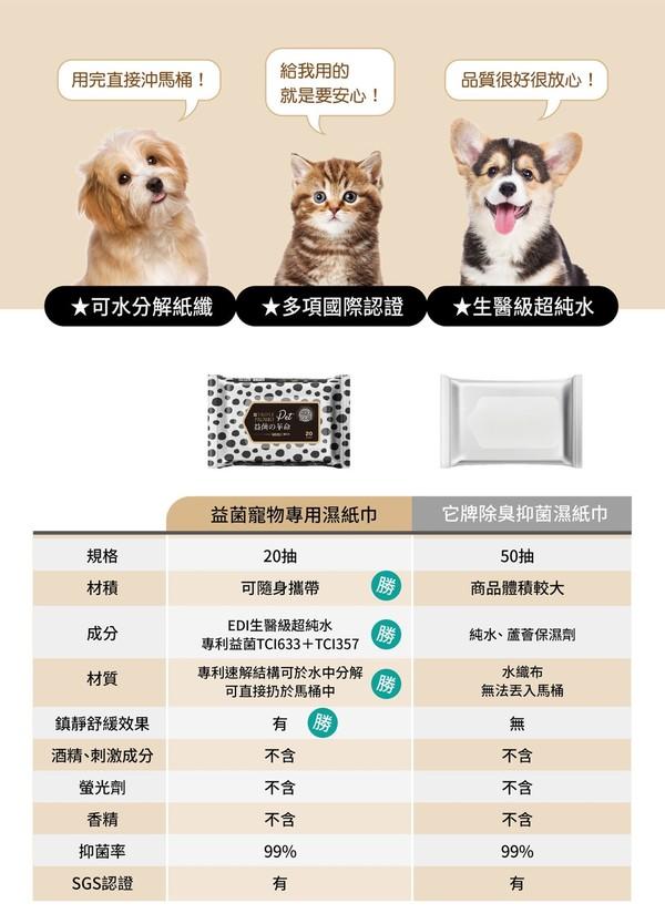 【益菌の革命】寵物專用濕紙巾20入4719880170234