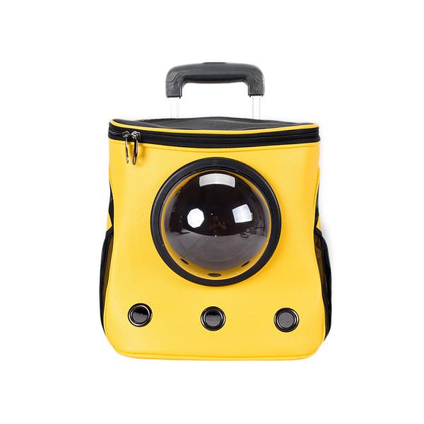 【菲尼斯】都會泡泡包-旅行兩用拉桿包(黃色/棕色)