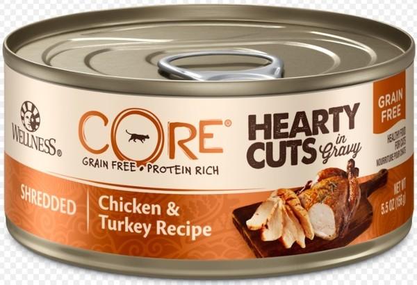 CORE無穀系列厚切肉片主食貓罐雞肉+火雞肉156g