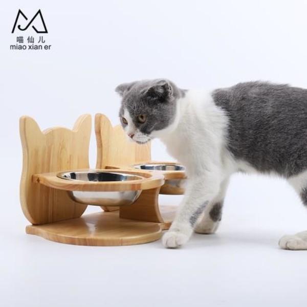 【喵仙兒】橡木貓耳造型餐桌(雙碗組)36*17.7*9cm