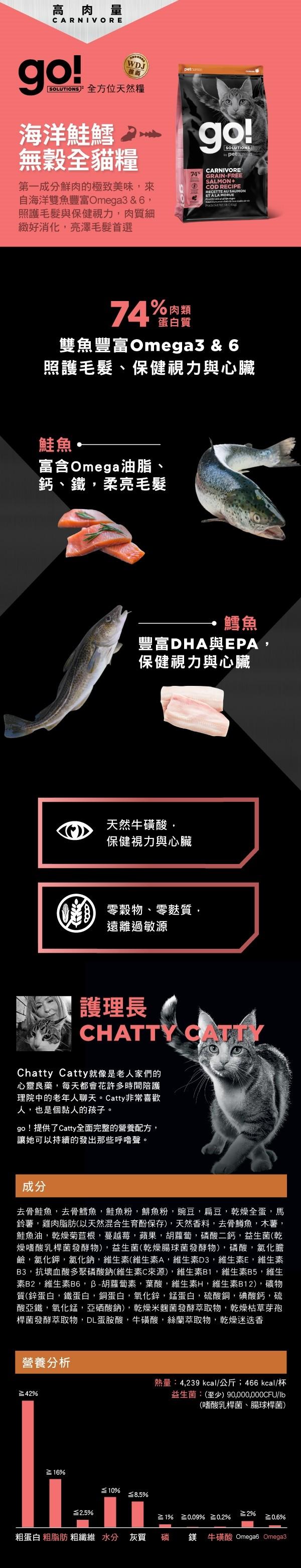 【Go】海洋鲑鱈無穀全貓糧8lb/16lb