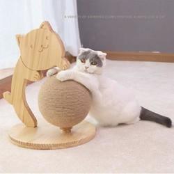 (E)地球儀造型貓咪玩具(原木色)20*45cm