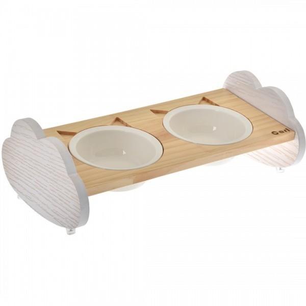 (E)喵仙兒雲朵造型原木碗架(雙碗組)  40.3*23*13.8cm