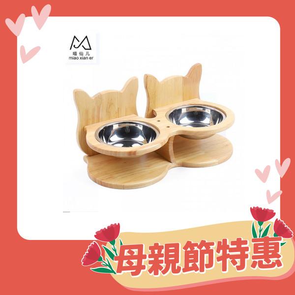 【喵仙兒】橡木貓耳造型餐桌(雙碗組)36-17.7-9cm-