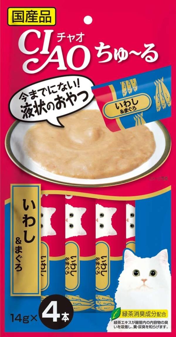 CIAO 啾嚕肉泥-(沙丁魚+鮪魚) 14g*4入