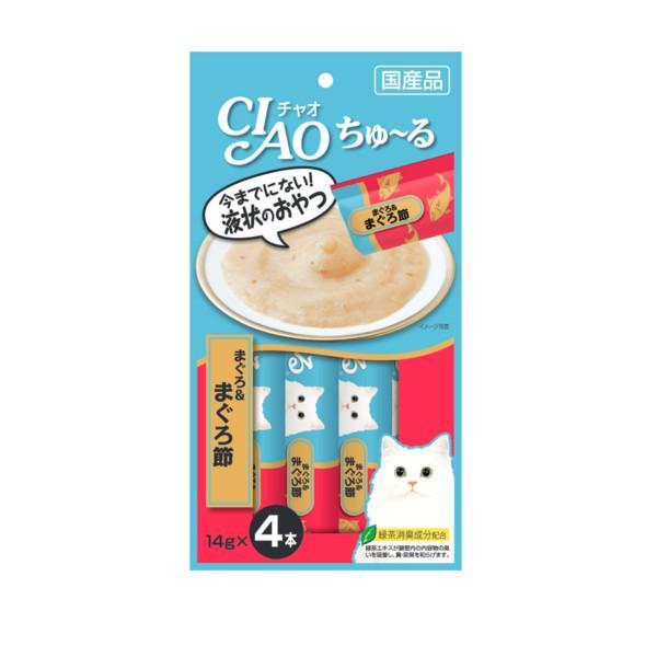 CIAO啾嚕肉泥鮪魚+柴魚片14g-4p_4901133718458