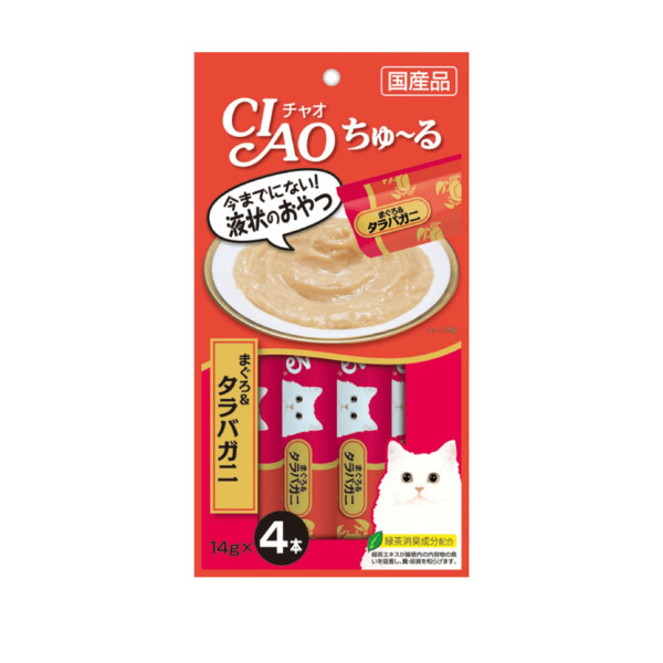 CIAO啾嚕肉泥鮪魚+鱈場蟹14g-4p_4901133718434
